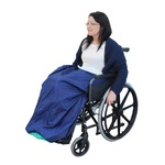 This blue fleece lined wheelchair cosy is made from 100% waterproof fabric, which provides protection from the wind and rain for your lower body.