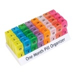 This pill organiser is ideal for sorting tablets up to one month in advance. The 32 individual compartments are all brightly coloured and marked clearly with the date.