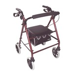 This red aidapt aluminium 4-wheeled lightweight rollator is an affordable, feature-rich walking aid with an aluminium frame and padded seat.