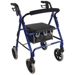 This blue aidapt aluminium 4-wheeled lightweight rollator is an affordable, feature-rich walking aid with an aluminium frame and padded seat.