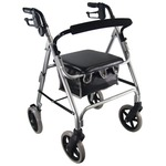 This silver aidapt aluminium 4-wheeled lightweight rollator is an affordable, feature-rich walking aid with an aluminium frame and padded seat.