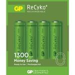 GP Recyko+ NiMH rechargeable batteries, 1.2V, 1300mAh, PK OF 4 AA