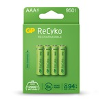 Pack of 4 AAA size 1.2V ReCyko+ pre-charged NiMH 950mA capacity Rechargeable Batteries