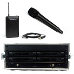 Trantec S4.10 Rack 'n' Ready kit with 4 radio microphones on channel 38 - you can choose your mix of lapel or handheld...
