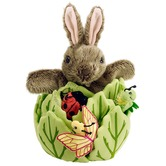 Hide Away Rabbit in a Lettuce with 3 Mini Beast Finger Puppets