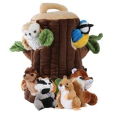 Tree House with Creatures Finger Puppet Hide Away Set