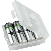 Storage case for 4 AA or AAA batteries