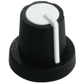 White/black rotary 11mm knob