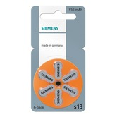 Siemens size 13 Hearing Aid Batteries - pack of 6