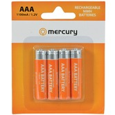 AAA 1100mA NiMH rechargeable batteries - pack of 4