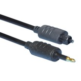 Black 1m Fibre Optic Toslink Plug to 3.5mm Fibre Optic Plug