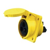 110V Yellow 16A 3 Contact High Current Angled Outlet Panel Mount