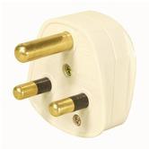White 15 A Round Pin Plug
