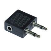 Aircraft Headphone Socket Adaptor - 2x 3.5 mm Mono Jack Plugs to Stereo Jack Socket