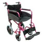 Compact Deep Pink Transport Aluminium Wheelchair