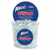 Mack's Original Soft Foam Earplugs, blue - bulk tub of 100 pairs 32dB