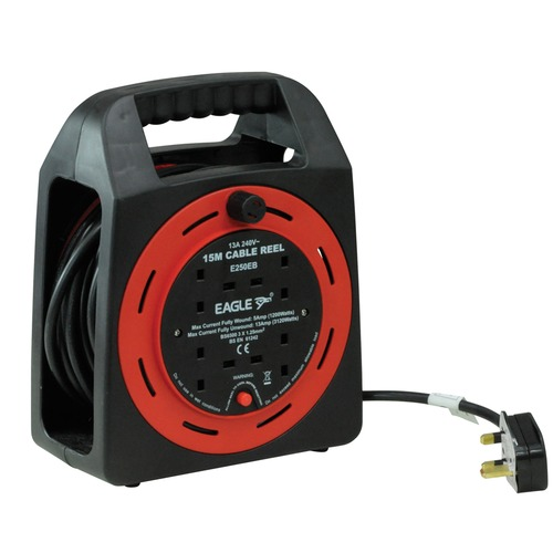 Red/Black 4 Gang 15 m Extension Reeler with Integrated Carry Handle and Reset Button