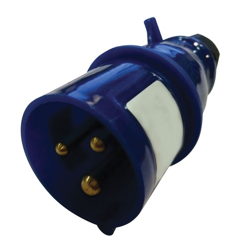 230V Blue 16A 3 Contact High Current In-line Plug
