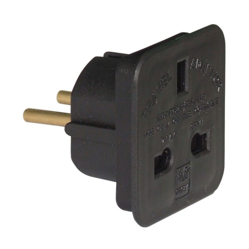 UK 3 pin socket to 2 pin european plug 7.5A - black