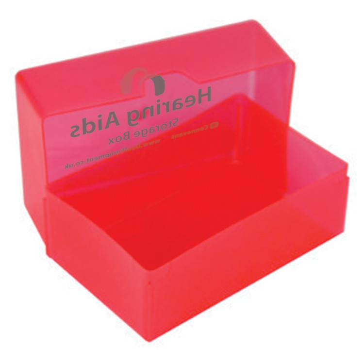 Hearing Aids Storage Box Red Deaf Equipment