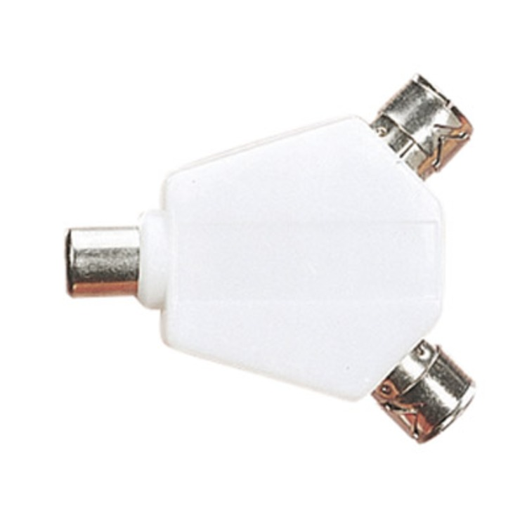 coaxial y splitter with line plug to 2 x line sockets