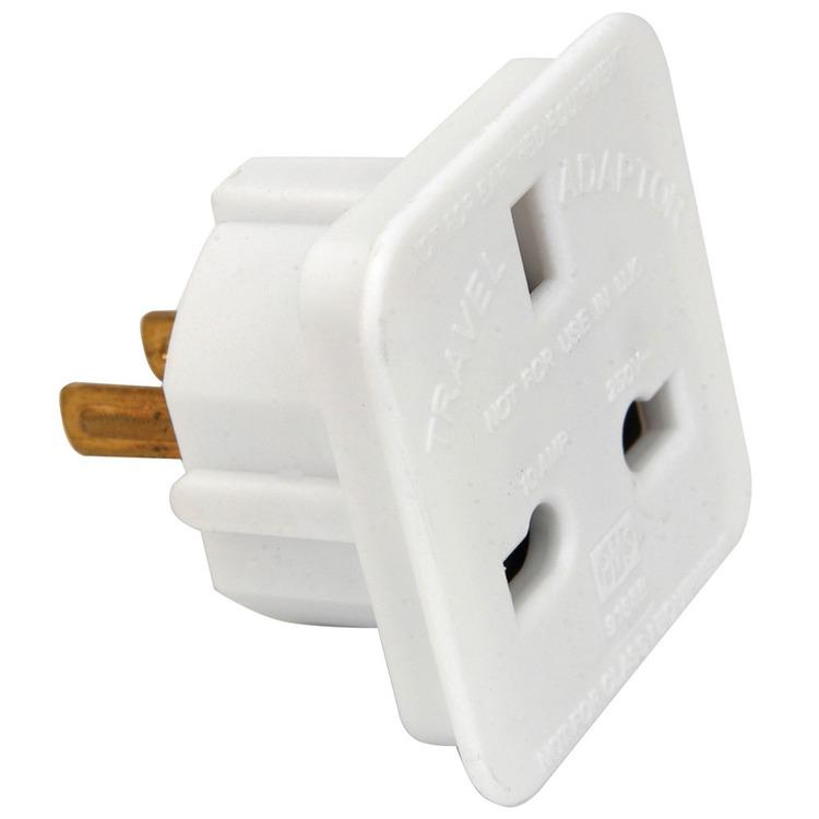 UK 13 amp socket to 2 pin American plug travel adaptor | Connevans