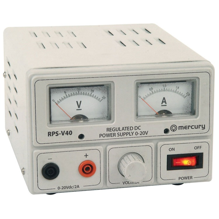 Regulated power supply with variable output voltage 0-20V/2A max
