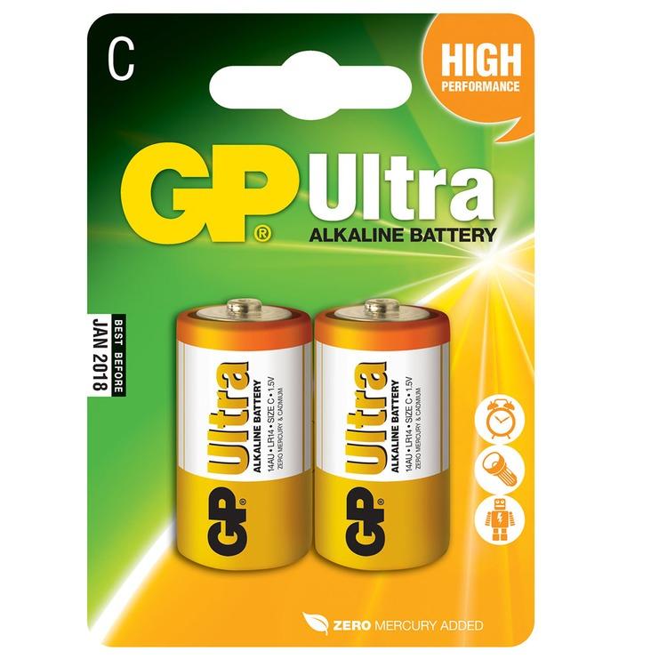C Alkaline Batteries Gp Ultra Pack Of 2 Connevans