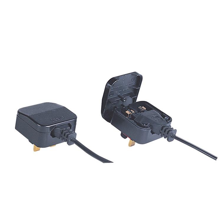 Black 5 A Fused Euro Converter Plug 2 Pole Euro Plug To 3 Pin Uk