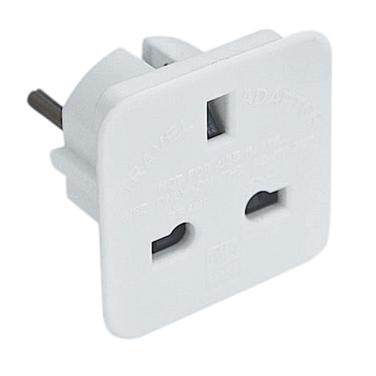 Uk 3 Pin Socket To 2 Pin European Plug 7 5a White Deaf