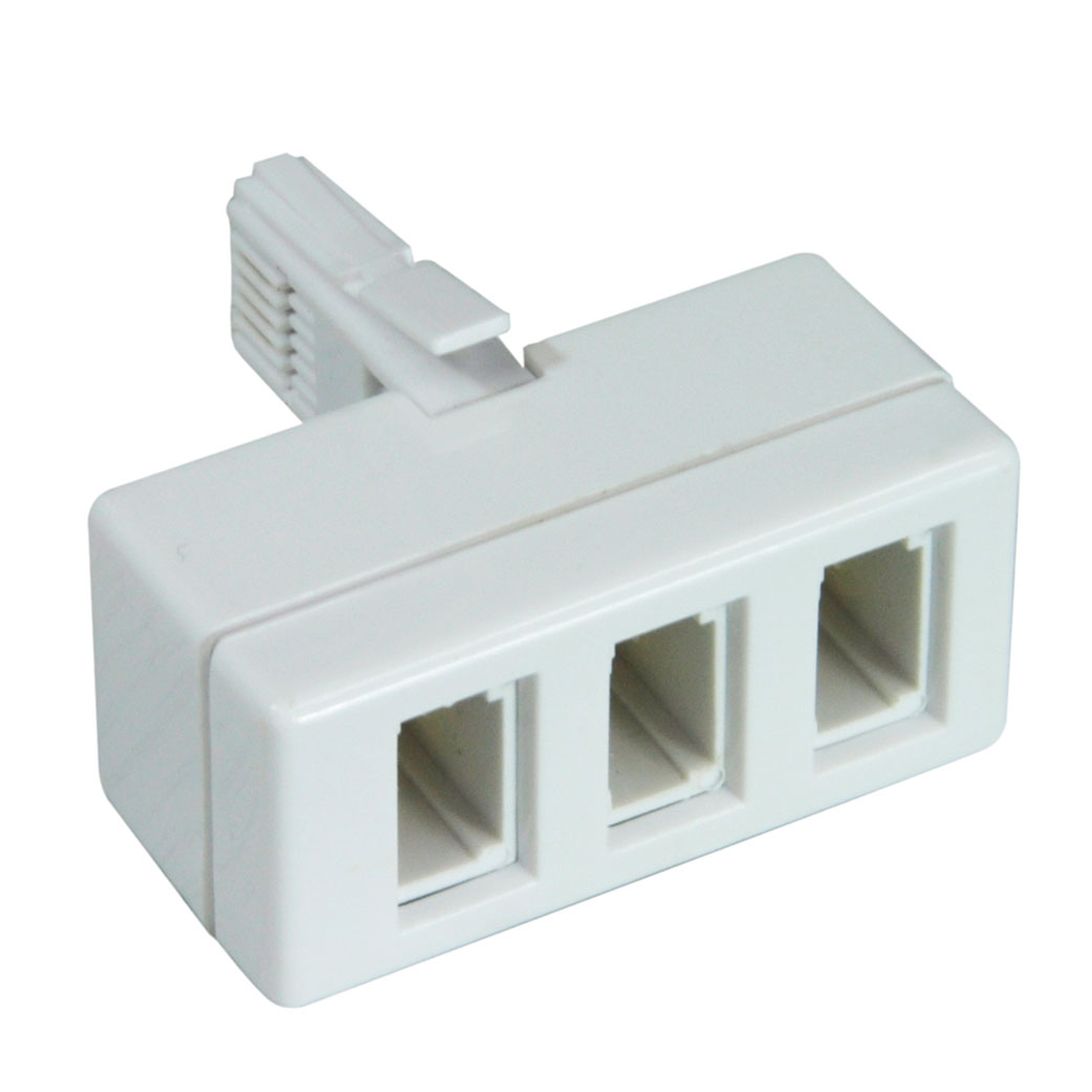 Telephone Socket Plug Adaptors Connevans Wiring A Bt Mains 3 Way Adaptor 4 Wire Converts Single Uk Into Treble Outlet Ideal For Fax